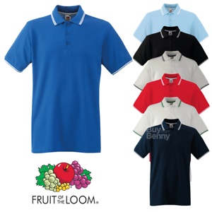 d4a1042d Fruit of the Loom MEN'S TIPPED POLO SHIRT STRIPES COLLAR SMART ...
