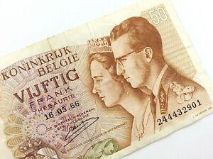 1966-Belgium-50-Francs-Circulated-Banknote-KM139-King-Baudouin-QueenFabiola-T570
