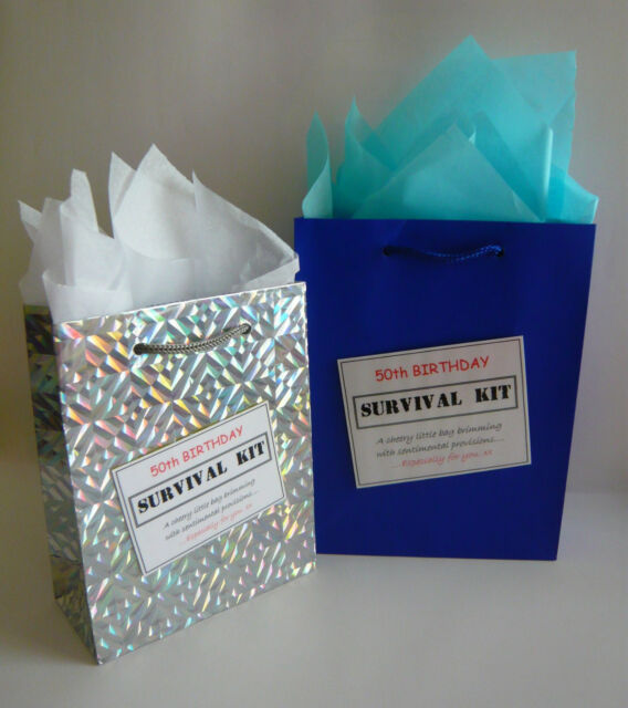 MALE 50th Birthday Luxury SURVIVAL KIT Novelty Gift Greeting Card Alternative