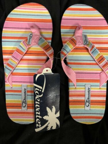 13 New Tidewater Flip Flops Multicolored Stripes Youth Large 12 Free Shipping