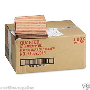 2000 Pop-open Flat Kraft COIN WRAPPERS Sorter QUARTER roll paper currency VALUE