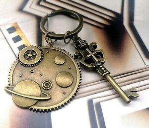 ANTIQUE-GOLD-STYLE-KEYRING-KEY-FOB-BAG-CHARM-PLANETS-KEY-STEAMPUNK-GIFT-SCIENCE