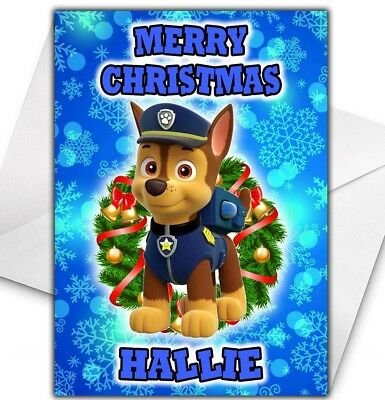 PAW PATROL MARSHALL Christmas Card Personalised With Child's Name