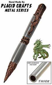 Mano Girado Dragon Pluma con Aluminio Cuerpo & Cobre Antiguo Hardware / #124