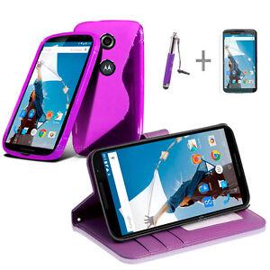PURPLE-Wallet-4in1-Accessory-Bundle-Kit-Case-Cover-For-Google-Nexus-6