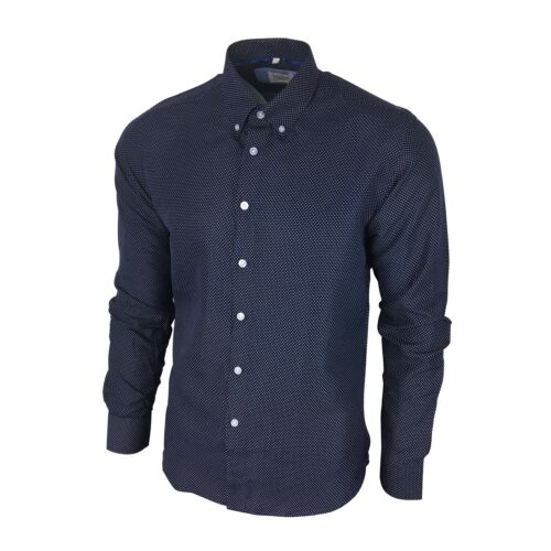 Men/'s Mini Polka Dotted Shirt Long-Slv Slim-Fit Soft Navy Blue with White Dots