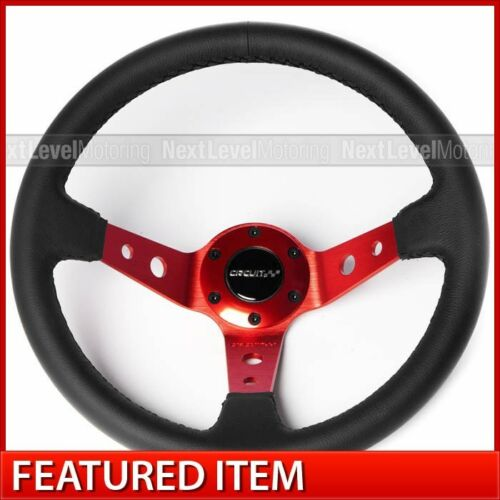 Circuit Performance CP330 Deep Dish Steering Wheel Red Black Leather fits NRG