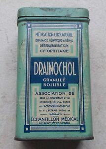 Ancienne-Boite-Metal-Tole-Drainochol-Granule-Soluble-Echantillon-Medical-2