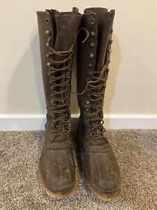 "Vintage LL Bean Boots Maine Hunting Shoe Mens Leather Duck Sz 11 D USA 17"" Tall"