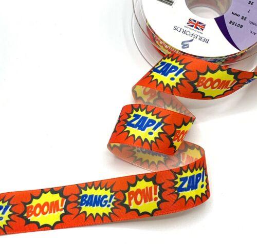 25 mm bande dessinée ruban-Super Héros combattre sons-ZAP POW-Cool ruban rouge