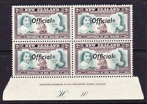 NEW ZEALAND 1940 2d CENTENNIAL OFFICIAL PLATE BLK 4 #H10 MNH