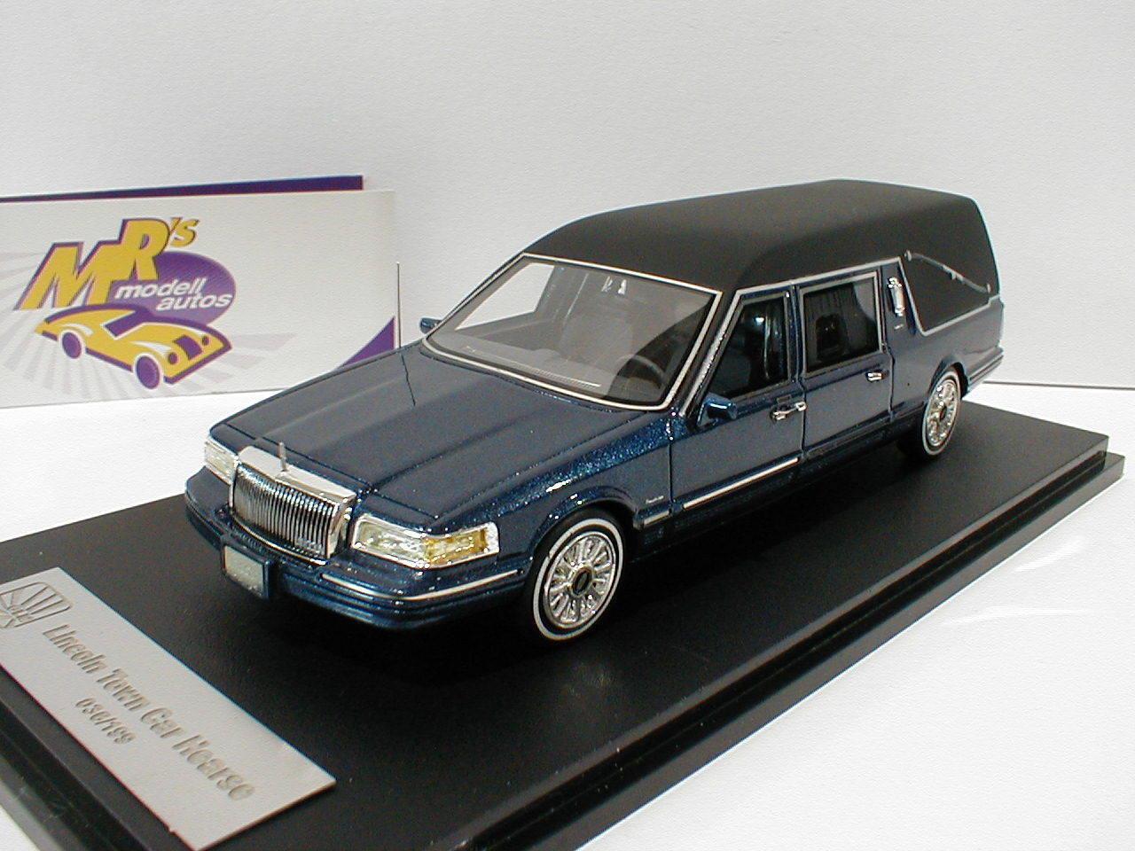 Bma 43102702 - lincoln towncar leichenwagen leichenwagen bj.1997 in blaumetallic 1 43