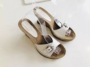 Ladies-HUSH-PUPPIES-Mules-White-Leather-Wedge-Slip-On-Shoes-Sandals-UK-7-Buckle