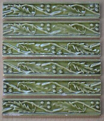 EUROPEAN 2 ANTIQUE ART NOUVEAU MAJOLICA BORDER TILES C1900