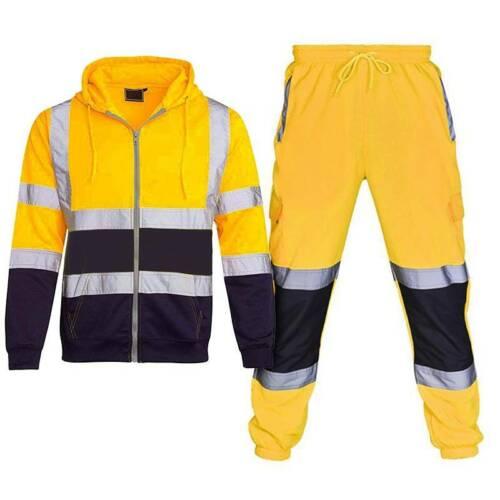 Herren Hi Viz Reflektierend Kapuzen Warnschutzjacke Arbeitskleidung Hoody Mantel