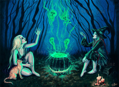 Gothic Fantasy Witches Cauldron Art PRINT Halloween Spooky Magic Cat Dark Blue