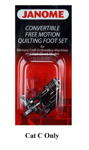 100/% JANOME Convertible free motion quilting Patchwork Foot Set Cat C 202001003