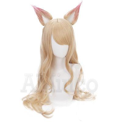 For LOL KDA Ahri Cosplay Wig Long Blonde Ears Women S8 ...