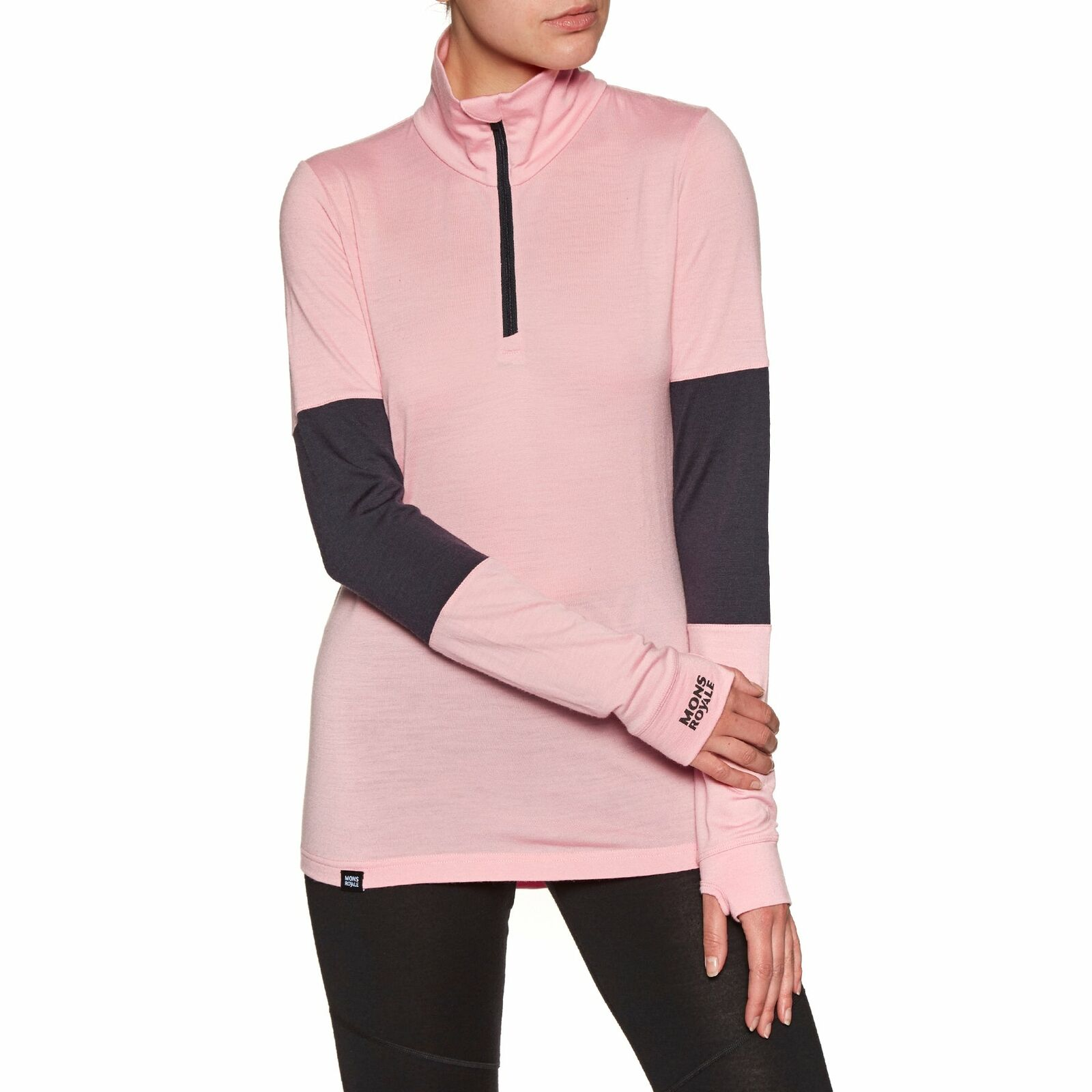 Mons Royale Cornice Half Zip Womannens Base Layer Top... Rosewater Iron All afmetings