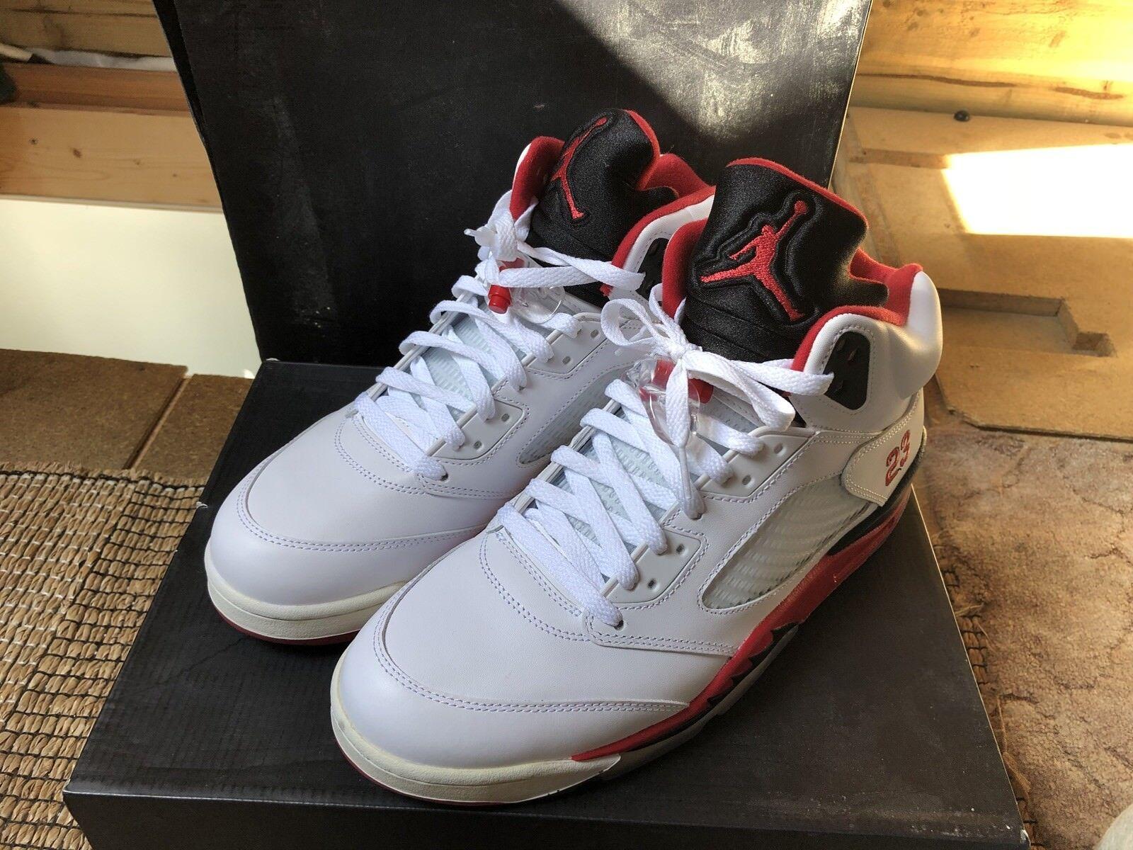 Nike Air Jordan Retro 5 Fire Red   Black Tongue. UK11
