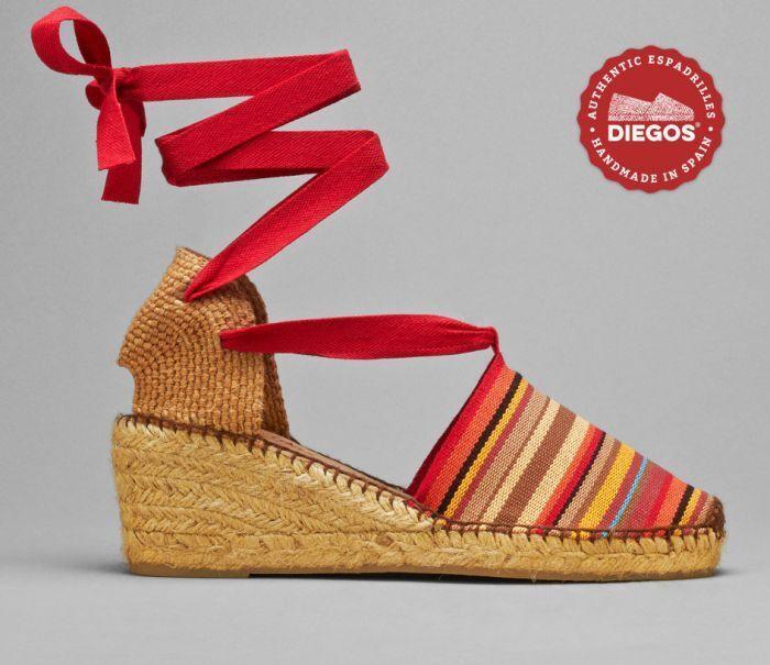 Diegos® Authentic Authentic Authentic Handmade Spanish Espadrilles   Sailor stripes high wedge shoes 27d048