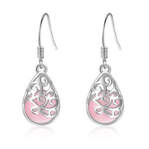 Hot-925-Sterling-Silver-Wishing-Pool-Pink-Opal-Dangle-Hook-Earrings-Jewelry