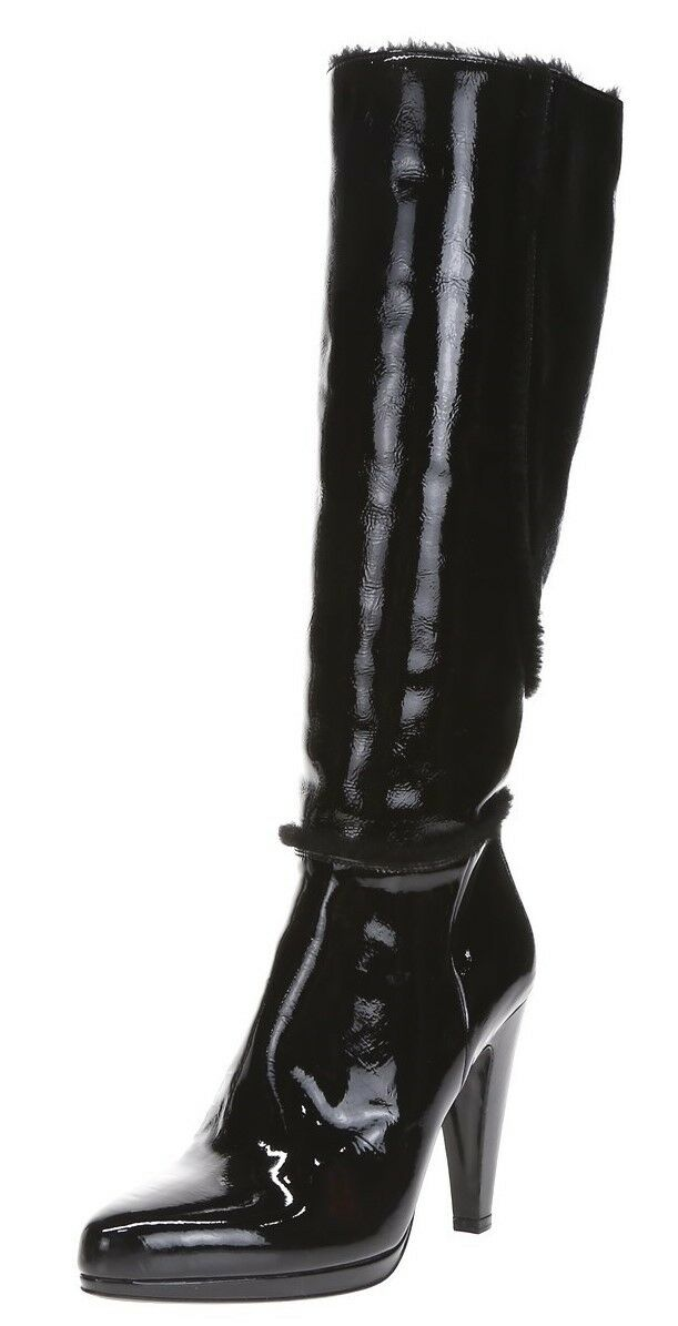 PRADA Womens Black Patent Leather Real Fur Tall Heel Boots Sz 39