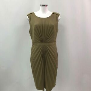 TED-BAKER-Brown-Khaki-Dress-Women-039-s-Pleated-All-Occasions-Size-5-UK16-514419