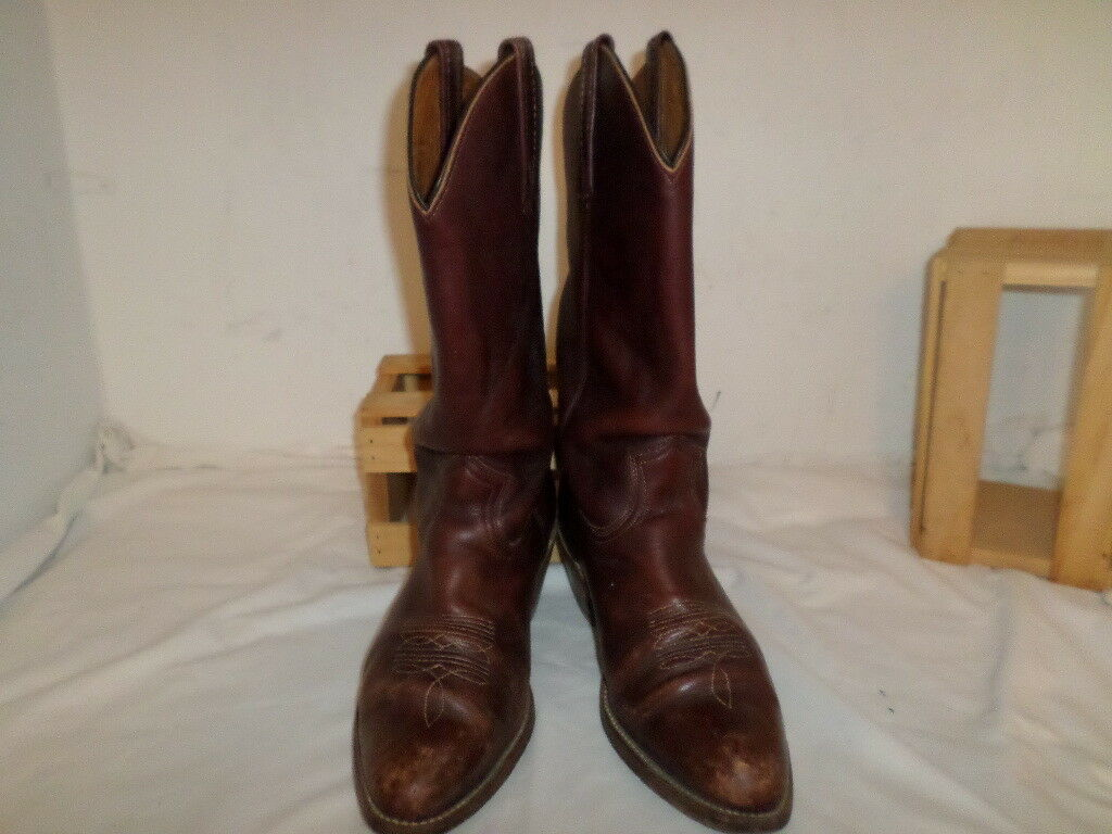 MEN VINTAGE FRYE WESTERN BOOTS MADE IN THE USA BROWN SOFT LEATHER SZ 10.5 D