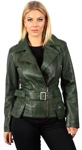 retro cuero para verde de de motera vintage 100 mujer Chaqueta cuero A67p47q