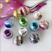 12 Mixed Silver Carved Lantern Aluminium Beads fit European Charm Bracelets 12mm