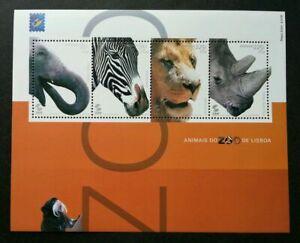 SJ-Portugal-Zoo-Animal-2001-Wildlife-Lion-Big-Cat-Elephant-Zebra-ms-MNH