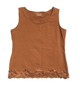 Coldwater-Creek-Womens-Tank-Top-Lace-Shirt-Size-M-Orange-Camisole-Spandex-Sexy