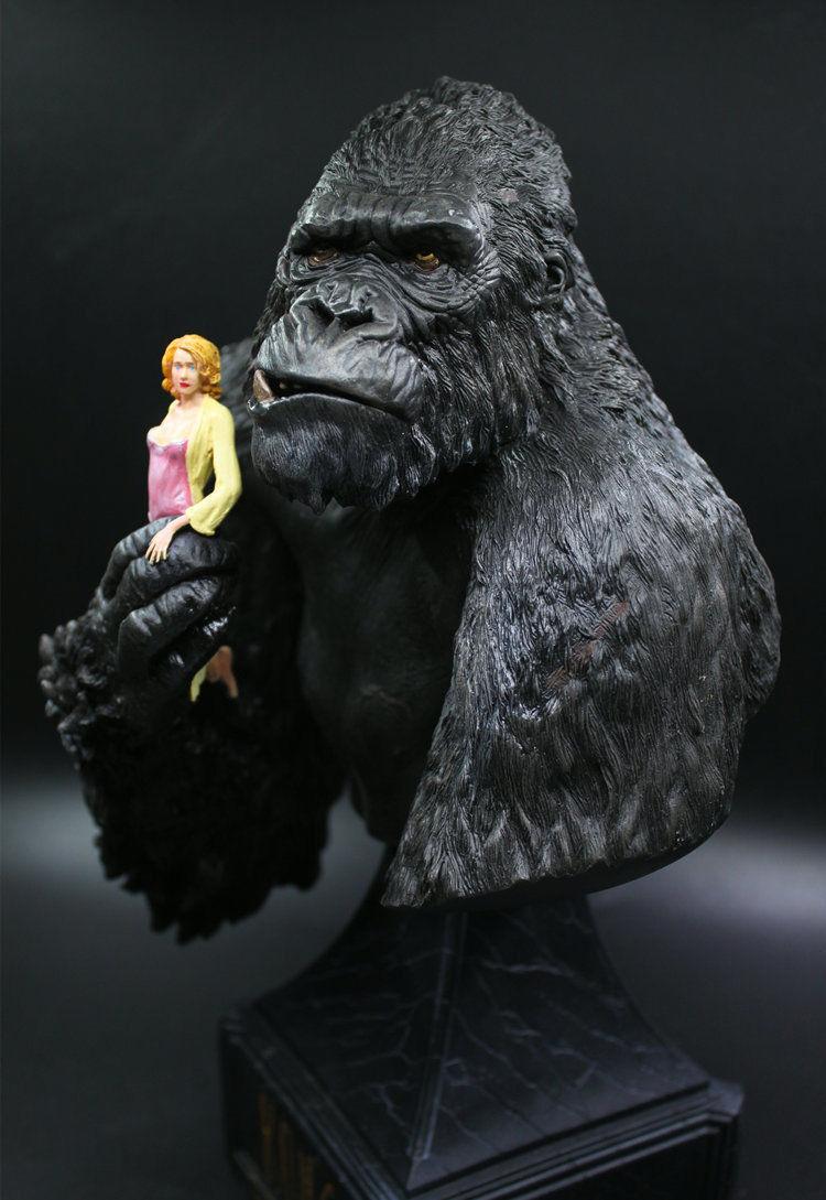 12  comprimidos King Kong & Anne cráneo Isla De Resina Busto Estatua Figura Modelo Juguetes