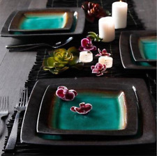 Casual 16-Piece Service for 4 Green Black Dinnerware Dish Set Square Plates Gift