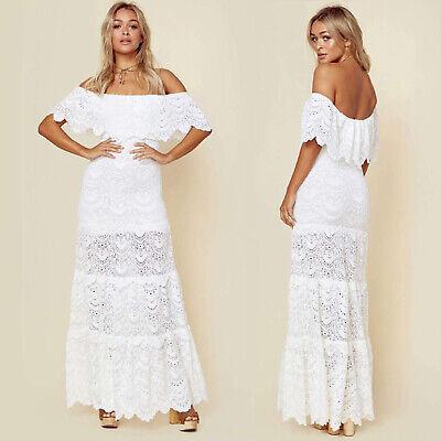 Women Ruffle Off Shoulder Club Lace Splice Long Maxi Dress Beach Evening Party