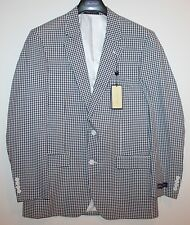 Alan Flusser Mens Blue White Checks Cotton Blazer Sports Coat Jacket NWT 38 R