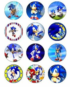 Sonic The Hedgehog 24 Edible Wafer Paper Cupcake Toppers Birthday Decorations Ebay