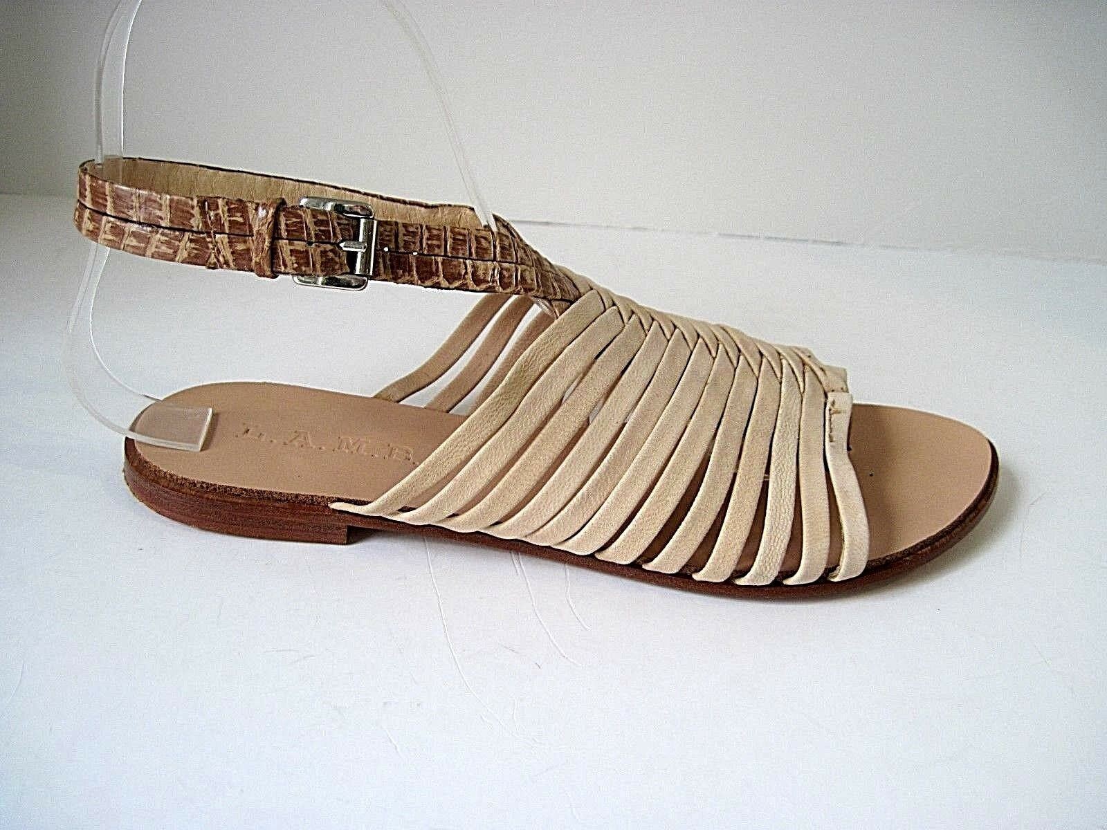 Womens L.A.M.B.beige leather strappy thong sandals flats shoes size 6M