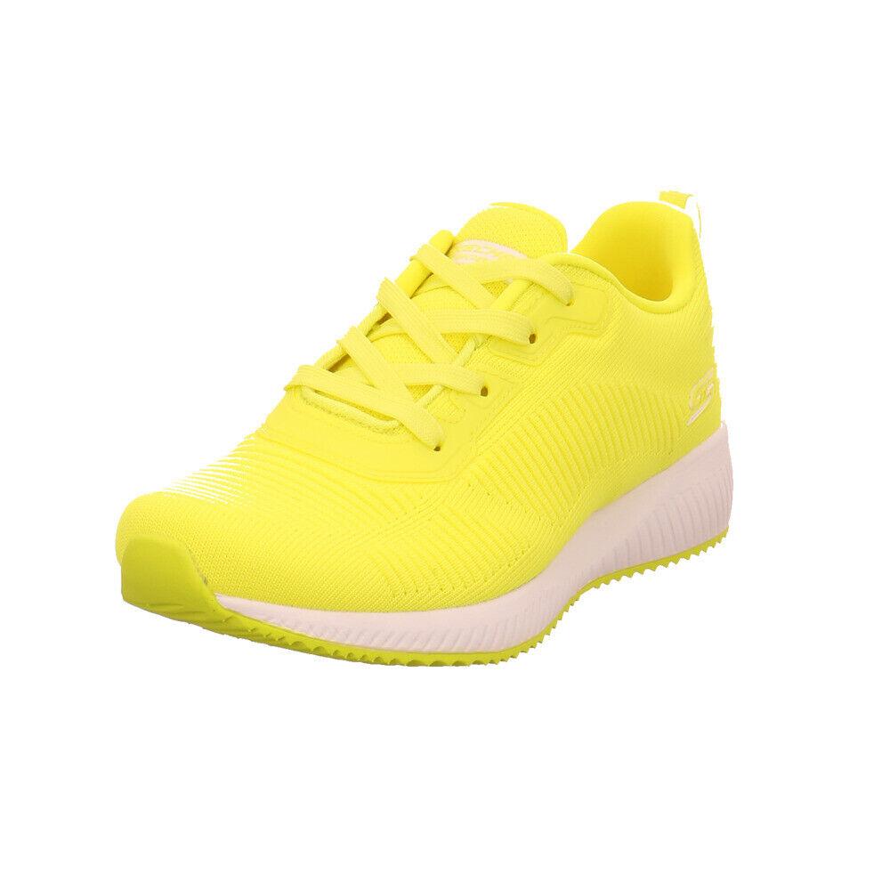 Skechers Damen Bobs Squad Glowrider Gelbe Mesh Turnschuhe