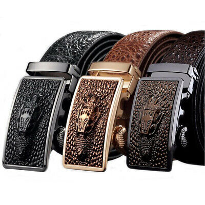 Mens Black Leather Ratchet Belt Automatic Buckle Strap Waistband Waist Jewelry