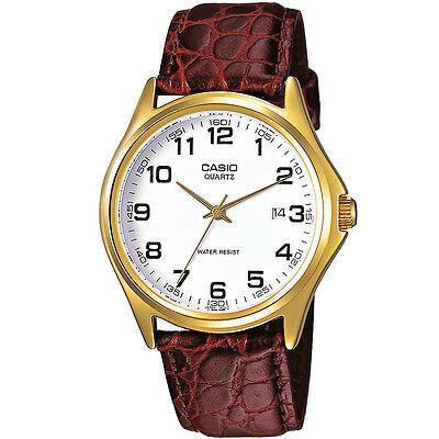 Casio Herrenuhr MTP-1188PQ-7B Armbanduhr Leder Braun Weiß Datum watch NEU & OVP