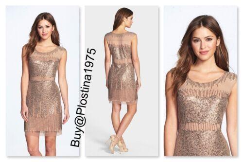 4   #D101 NWT Adrianna Papell Illusion Yoke Beaded Sheath Dress Taupe Pink  Sz