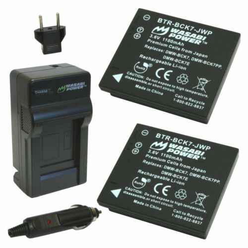 Wasabi Power Battery 2-Pack and Charger for Panasonic DMW-BCK7 NCA-YN101G,