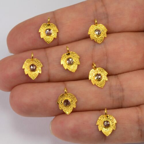 8x11mm 18k solide or jaune rose coupe champagne diamant Maple Leaf Charm Pendentif