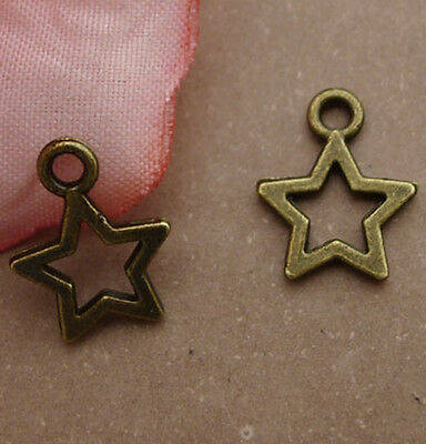 30pc Antique Bronze Small Pentagram Pendant Charms Dangle Jewellery Making S393T