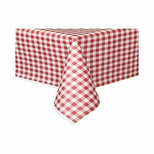 Red Gingham Check Plastic Table Cover 137 Cm X 274 Cm Ebay