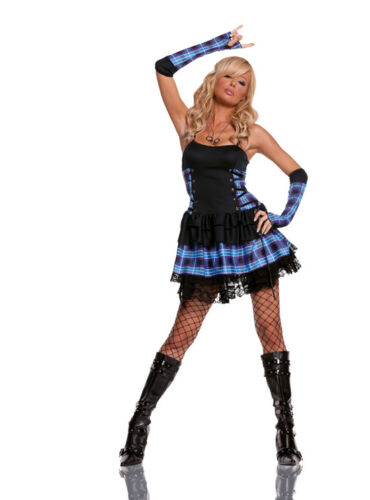 1980/'s Fancy Dress 8-14 Elegant Moments Head Bangin/' Hottie Costume Punk Rock