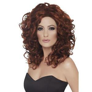 Adult Ladies Pop Star Fantasy Celebrity Brown Curly Wig Fancy Dress Accessory