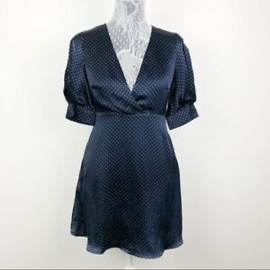 Zara-Navy-Blue-Polka-Dot-Satin-V-Neck-Short-Sleeve-Dress-Size-Small